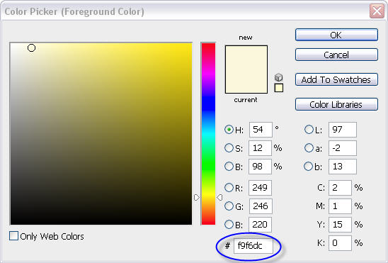 Photoshop Color Picker Dialog Box